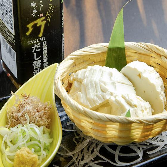 竹ざる豆腐の冷やっこ